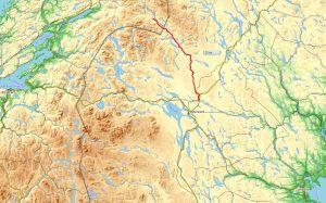 Onze kanoroute over de Harkan van Noorwegen naar Zweden op de kaart met links in beeld Trondheim, rechts Sundsvall en daar tussenin Sylarna en Östersund